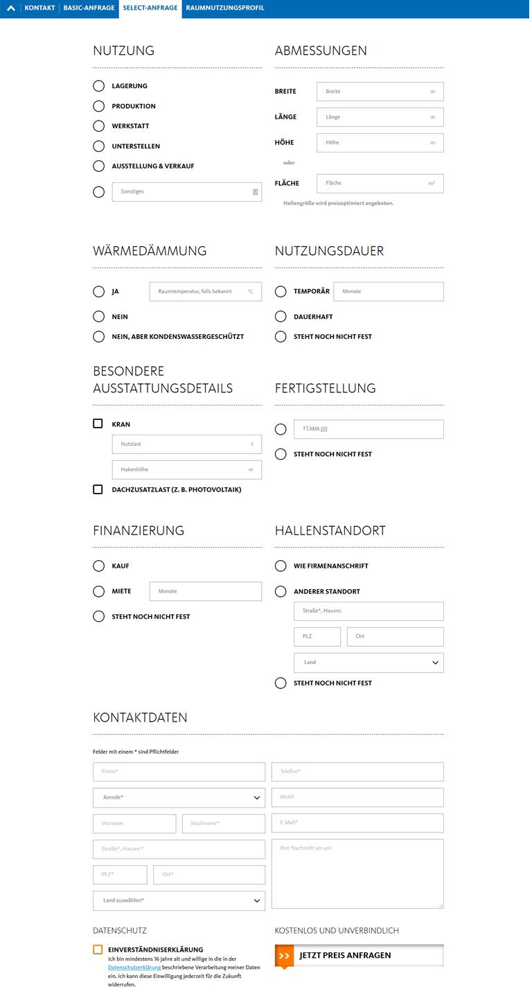 Kontaktformular zur Angebotsanforderung