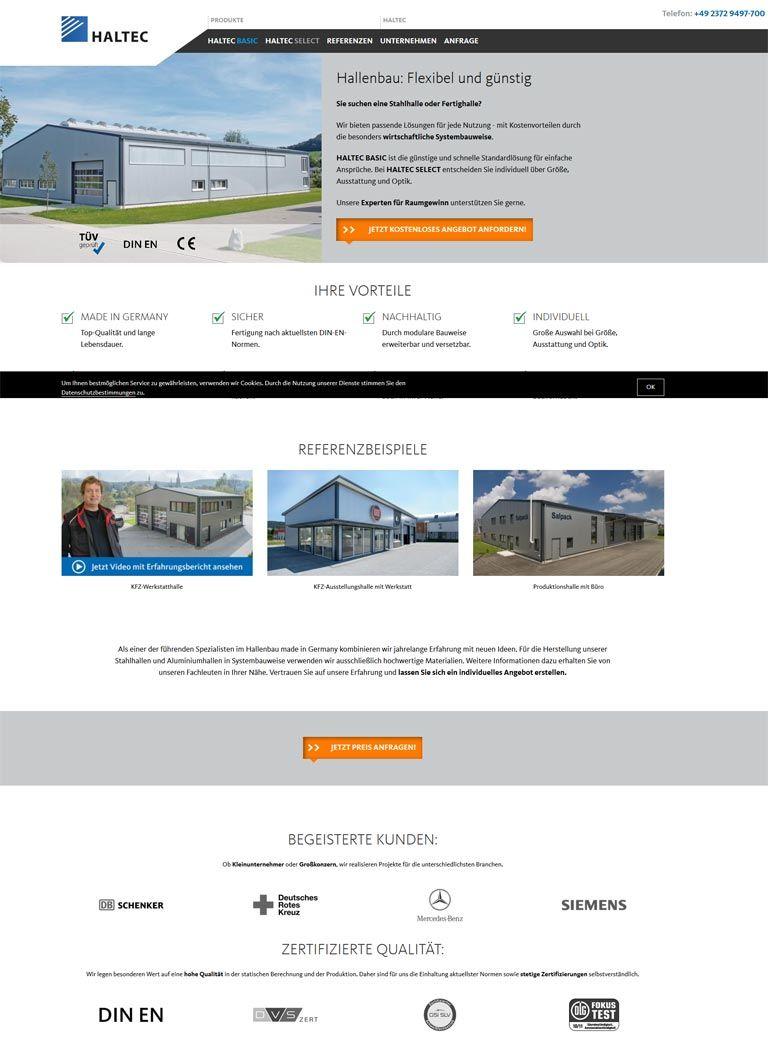 Beispielhafte Landing Page zur Suchanfrage Industriehalle bauen