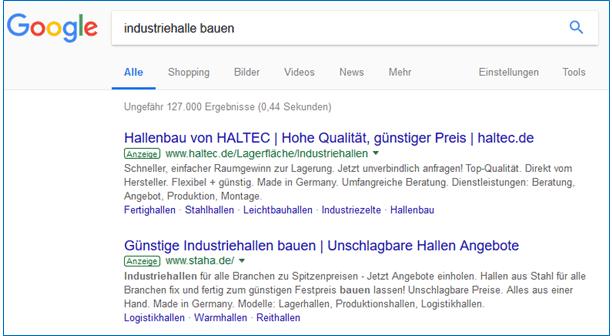 """Google Ads Textanzeigen zur Suchanfrage """"Industriehalle bauen"""""""